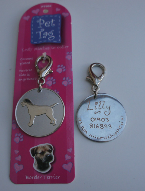BORDER TERRIER ID TAG -  ENGRAVED FREE